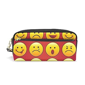 Emoji Emoticon - Estuche para lápices (piel sintética), color rojo