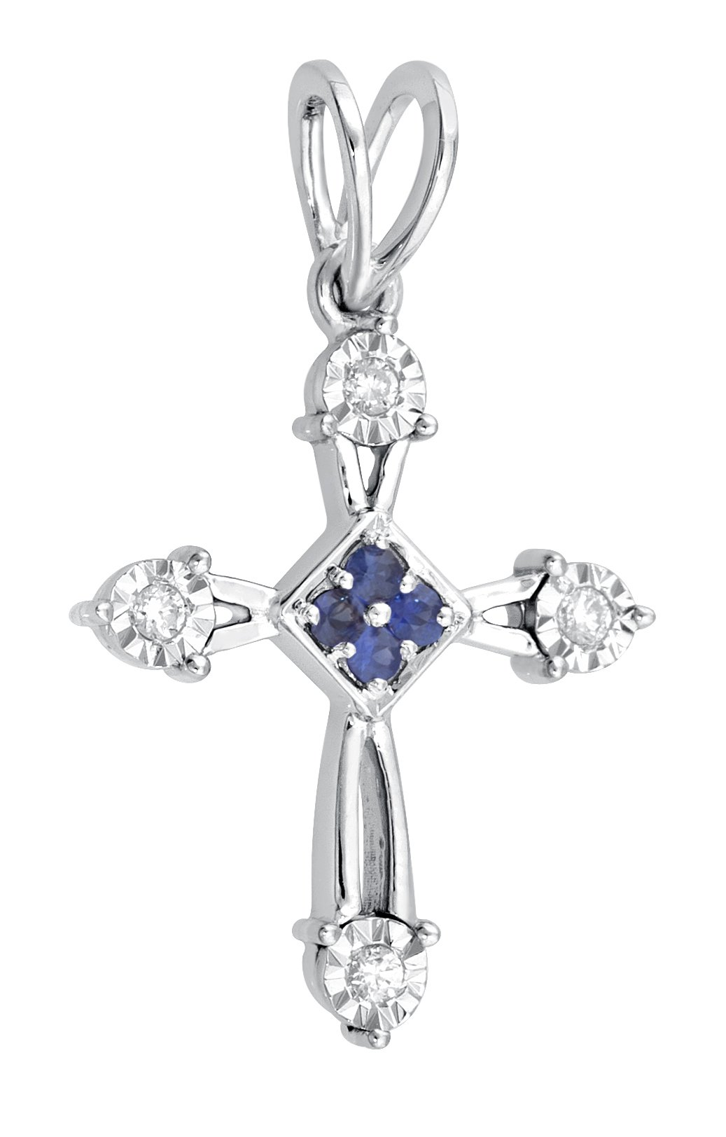 Christmas Gift, Necklace, Almighty Cross, Jewel Ivy 14K Gold Cross Pendant With 0.07 Carat Diamond and 0.06 Carat Sapphire and 1.6 Gram Chain
