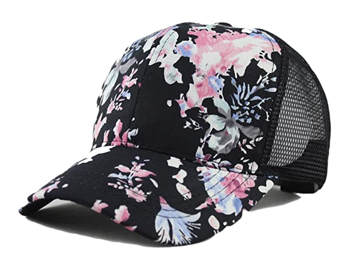 0f80f1bbfb9 Image Unavailable. Image not available for. Color  Qunson Junior s Flower  Print Mesh Trucker Baseball Cap Hat
