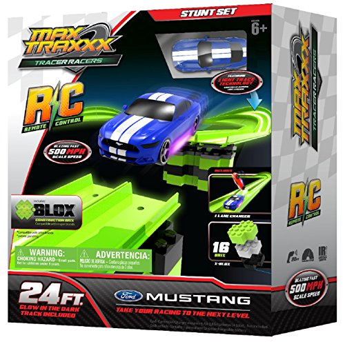 Max Traxxx R/C Tracer Racers High Speed Remote Control Stunt Track Set with Officially Licensed 1:64 Scale Ford Mustang Car -