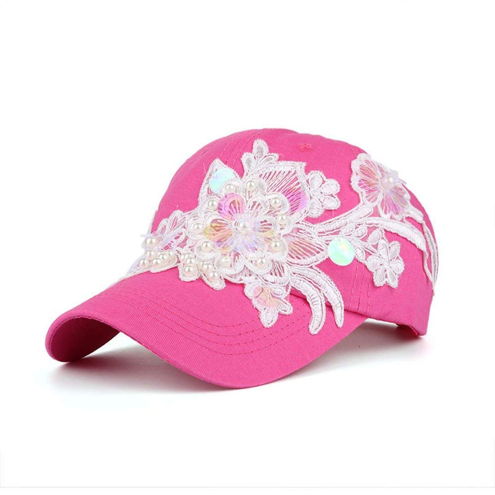 AKIZON Girls Baseball Cap Fashion Flower Adjustable Casual Unique Hat Women Black