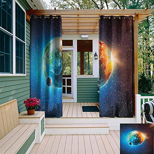DONEECKL Outdoor Curtain Earth Majestic Galaxy Outer Space View Universe with Planet Earth Stars Astral Theme Room Darkening Thermal W72 x L84 Orange Blue Black