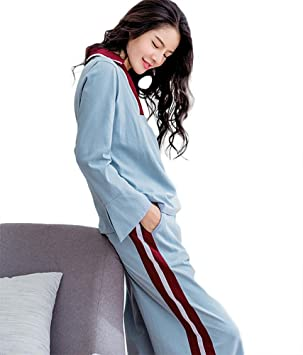 mujer invierno algodón conjunto de pijamas señoras 2 piezas suave casual ropa de dormir, M