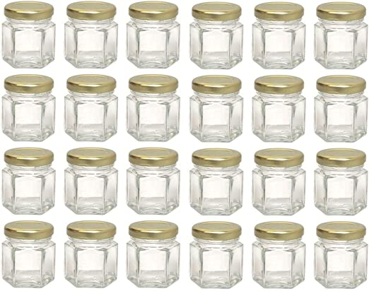 Party Favors 24-Pack 1.5oz Hex Jars DIY /& more Gifts 24 Mini Hexagon Glass Jars - for Spices
