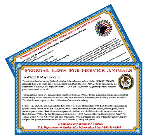 Xpress ID Service Dog Handout Cards (Qty.50) | ADA Information Cards (Card Information Support)