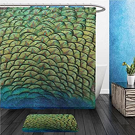 Peacock Shower Curtain Mat Set