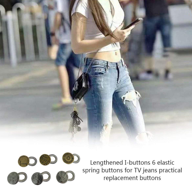 6pcs metal cuello de la camisa Extensores Extensores estiramiento collar del cuello de la pretina de los pantalones vaqueros de extensión Expander Botones Botones (color metálico): Amazon.es: Hogar