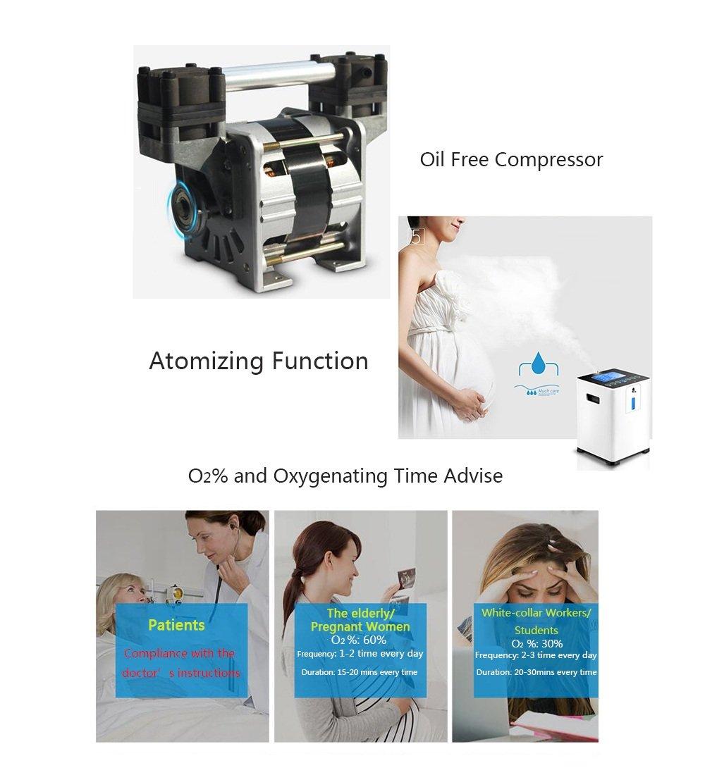 Maquina de oxigeno Concentrador de oxígeno - Concentrador de oxígeno portátil Generador de oxígeno doméstico 1-5L / min Función de atomización ...