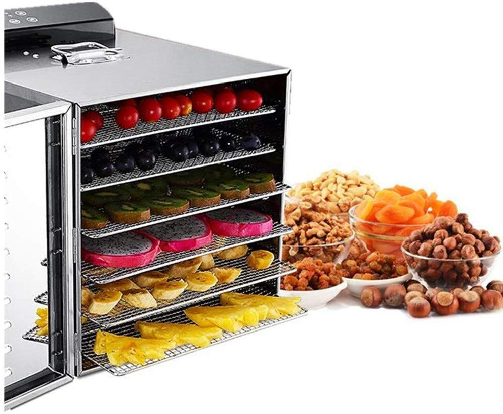 Food Dehydrator Machine 6 Trays Stainless Steel Electric Food Dryer Digital Adjustable Timer and Temperature Control for Jerky, Herb, Meat, Beef, Fruit