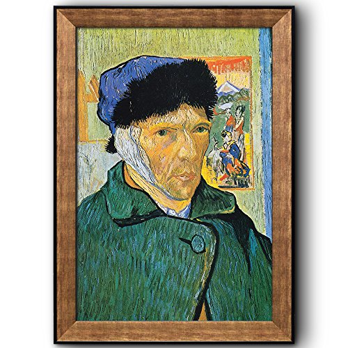 (wall26 - Self Portrait with Bandaged Ear by Vincent Van Gogh - Oil Painting, Impressionist, Artist - Framed Art Prints, Home Decor - 16x24 inches)