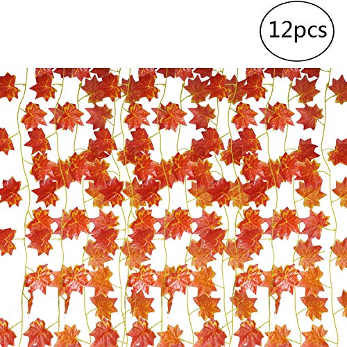 (EBTOYS Artificial Maple Leaf Garlands Fake Maple Leaf Garland Hanging for Thanksgiving Outdoor Garden Fall Decor,12-Pack (90 Feet))