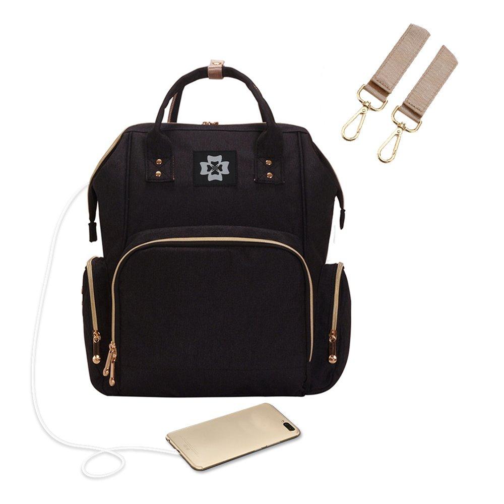 decdealベビーおむつバッグ、防水大容量USB充電ポート付きファッションMummy授乳バッグ、保育園、ホーム、車や旅行にぴったり。 ブラック MAL7785627357249AX B07CQCM6YL ブラック