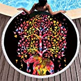 BALLBICK Round Printed 150Cm (59In) Microfiber Tablecloth Wall Hanging Yoga/Picnic / Camping Pad Beach Towel