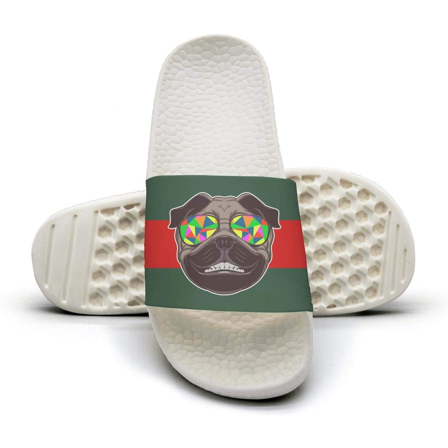 Woman pugs sunglasses pug dad red and green stripe flat Slipper Sandals lady Summer Sandals Slides