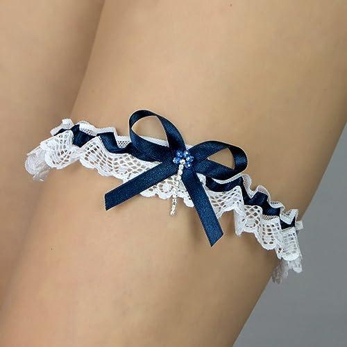 3be04562b6 Liguero liga novia boda puntilla blanco Strass azul marino Regalo boda  Handmade