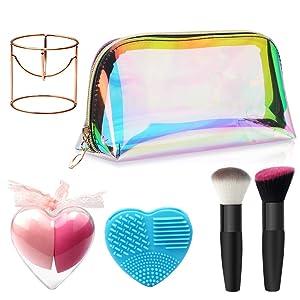 Makeup tool 6pcs makeup brush Kit makeup bag Sponge Blender Sponge Holder and Brush Cleaner for Makeup professional or beginner Women Girls