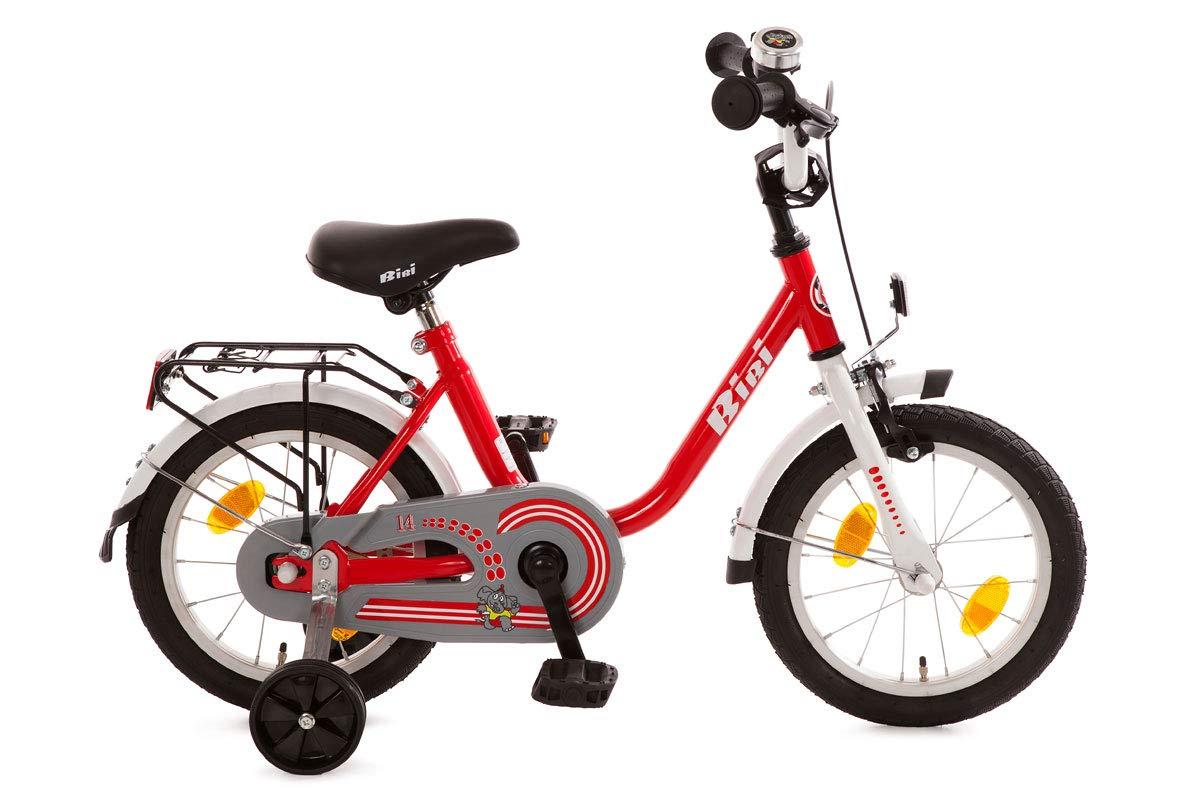 Bachtenkirch - Bici per bambini, 14  (35,6 cm), con rotelle e cavalletto, colore  Rosso Bianco
