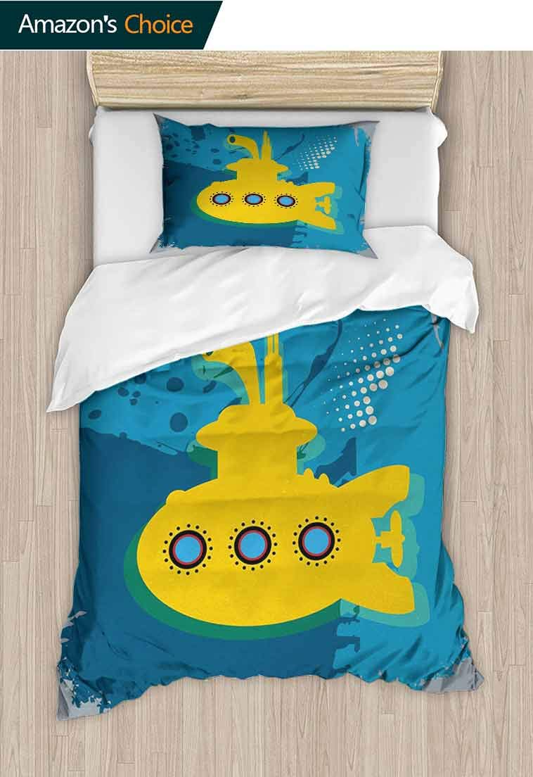 Yellow Submarine Printed Duvet Cover and Pillowcase Set, An Illustration of a Submarine Bubbles Under the Sea Print, Duvet Cover with Pillowcases Child Bedding Sets 2 Piece, 79 W x 90 L Inches