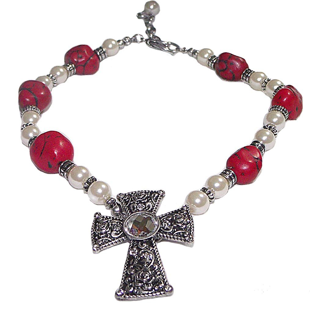 V G S Eternity Fashions Boot Chain ~Red Silvertone Beads W Imitation Pearls Crystal Cross Boot Charm Anklet (Boot Charm 047a)