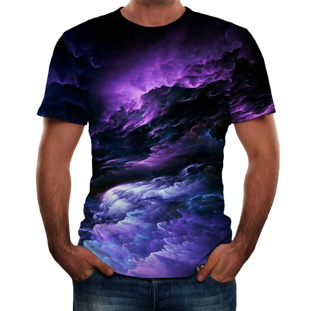 2DXuixsh Unisex Cool Novelty 3D Graphic Print T-Shirts Summer Short Sleeve Crewneck Galaxy Space Tees Casual Tops