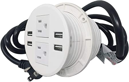 Desktop Power Center with 4-USB Ports /& 3-Outlets