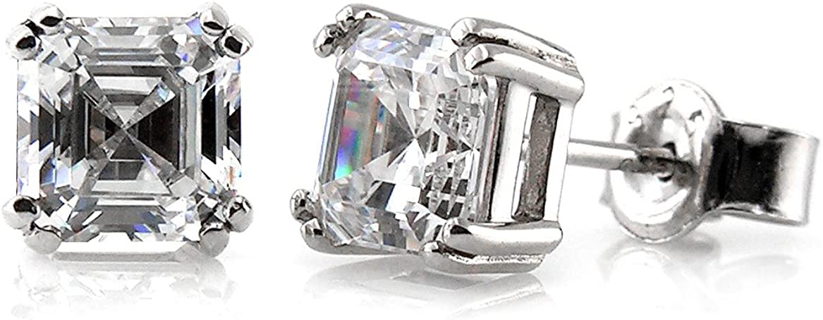 BERRICLE Rhodium Plated Sterling Silver Asscher Cut Cubic Zirconia CZ Solitaire Anniversary Wedding Stud Earrings 4mm 0.78 CTW