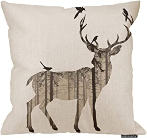 HGOD DESIGNS Deer Square Pillow Cushion Cover,Art Wildlife Deer with Pine Forest and Birds Cotton Linen Cushion Covers Home Decorative Throw Pillowcases 18x18inch