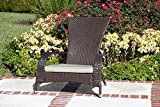 Best Quality Adirondack Deck Chair Wicker With Cushion Furniture - For All Weather on Patio Outdoor Garden Poolside Beach, Dark Mocha Color, Lightweight 22 pounds
