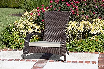 Best Quality Adirondack Deck Chair Wicker With Cushion Furniture - For All  Weather on Patio Outdoor - Amazon.com : Best Quality Adirondack Deck Chair Wicker With Cushion
