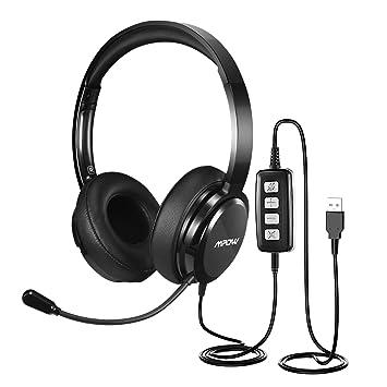Mpow Auriculares USB para PC con USB / 3.5mm, Auriculares Diadema con Cancelación de