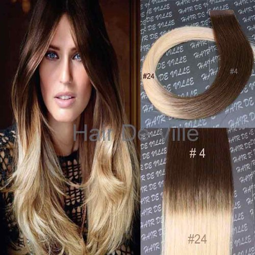 Cheap 10 Pieces 20″ inches Balyage Ombre Two Tone Tape In Skin weft Human Hair Extensions Color 4/24 Brown Mix Light Blonde