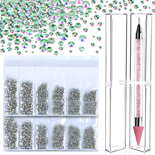 3546 PCS Crystal AB Rhinestones With Wax Pen Pick Up Tool, Teenitor Flat Back Round Glass Beads Ultra Shinny Stones Diamond Charm For Nail Art Craft makeup Jewelry(SS3 4 5 6 8 10) 576 Pieces Per Size