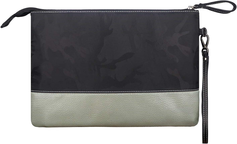 Long Wrist Strap Nylon Genuine Leather Business Daily Commuting Zipper 2 Color Black Camo+Dark Brown BIGHAS Mens Clutch Bag Handbag Briefcase US Letter Large Size