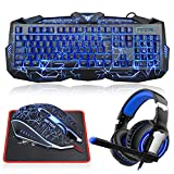 Gaming Keyboard and Mouse Combo with Headset, MFTEK Crack Backlit 3 Colors Keyboard, Wired Gaming Mouse, Lighted Gaming Headset with Microphone Set, 40mm Speaker Driver + Mouse Pad for PC Games