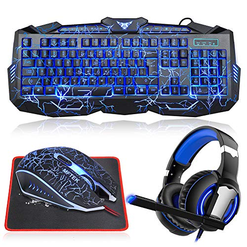 Gaming Keyboard and Mouse Combo with Headset, MFTEK Crack Backlit 3 Colors Keyboard, Wired Gaming Mouse, Lighted Gaming Headset with Microphone Set, 40mm Speaker Driver + Mouse Pad for PC Games ()