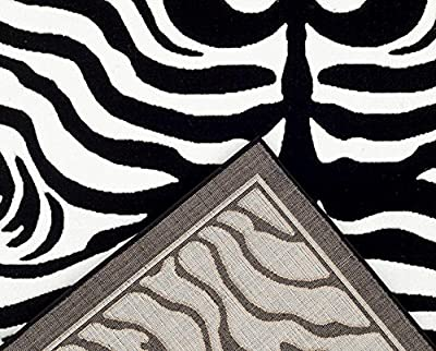 1802 Black Zebra 5x7 Feet Area Rug Carpet Large New