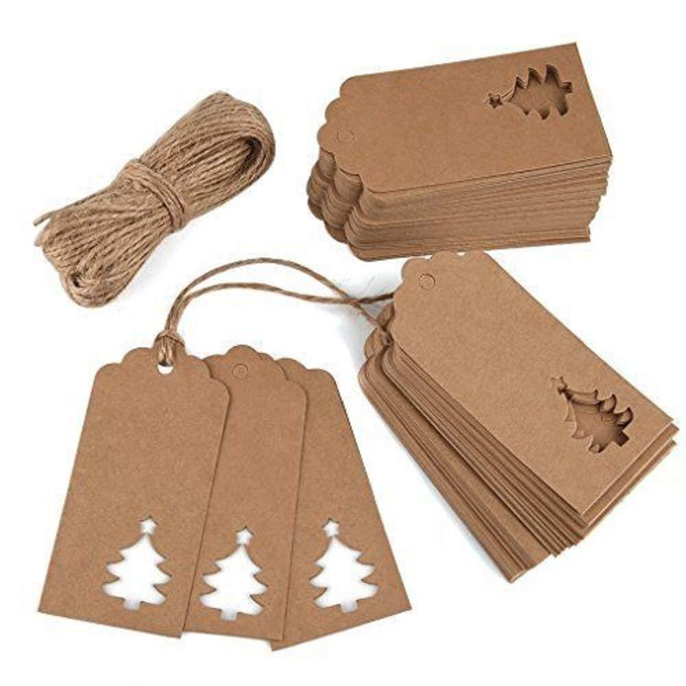 TOOGOO Targhette da regalo in carta Kraft da 100 pezzi Etichette da appendere con 33 piedini a taglio libero per bomboniera, doccia, etichetta per bagaglio, etichetta di prezzo
