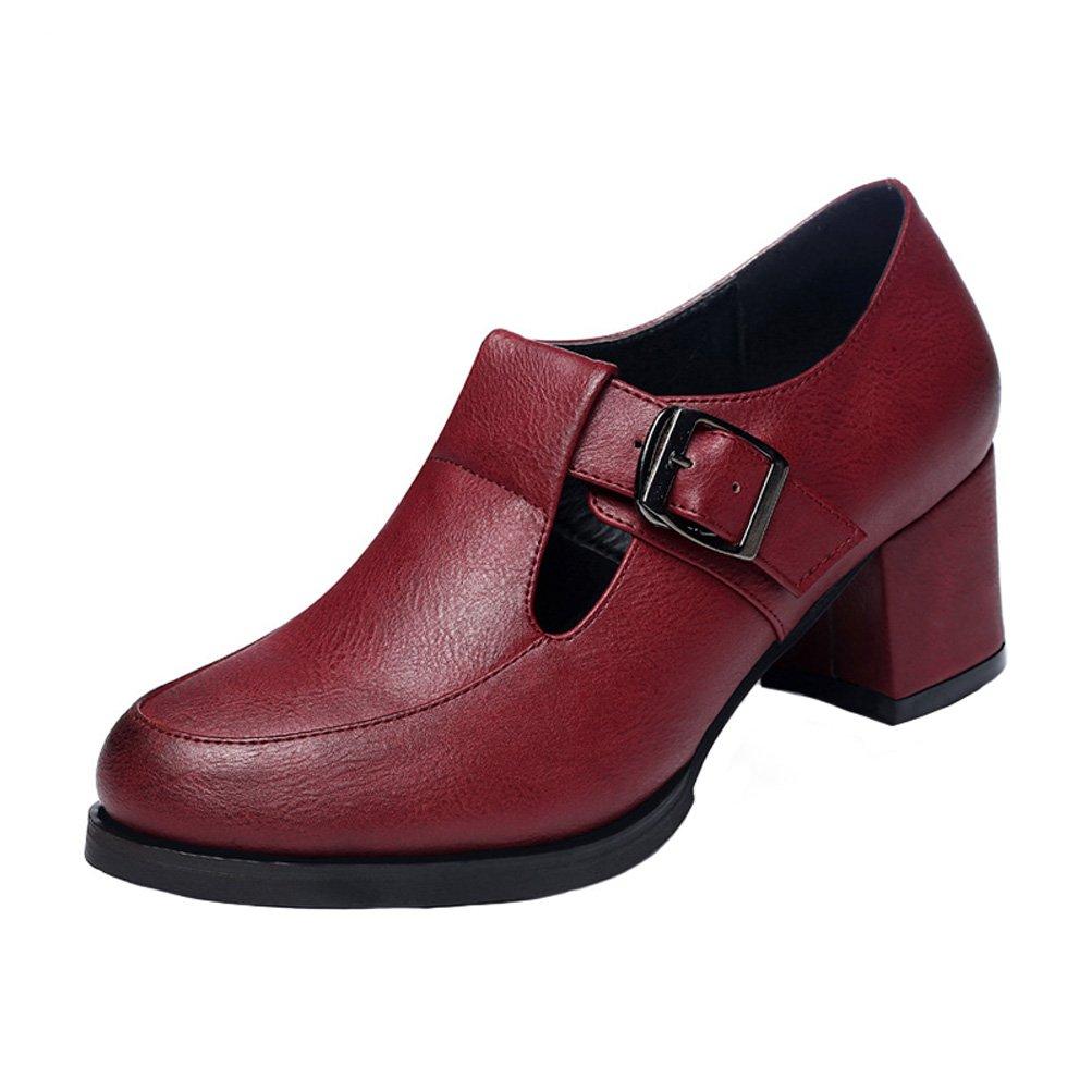 GuciHeaven Women Fashion Walking Shoe Vintage Low Top Mary Jane Shoe Red 8M US