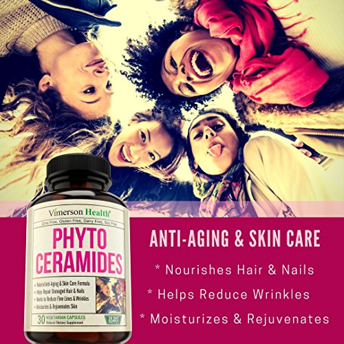 Phytoceramides Skin Care, Hair & Nails Supplement Natural Anti Aging, Rejuvenating & Moisturizing Formula with Vitamin A C D E. Reduces Fine Lines, Wrinkles, Facial Redness, Dryness & Dark Spots