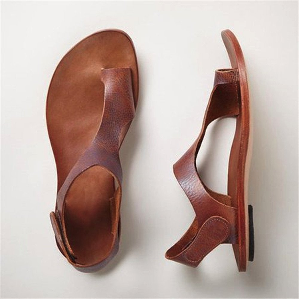 Amazon.com : LEERYAAY Women Ballet Casual Ankle Strap Roman Flat Clip Toe Shoes Criss-Cross Sandals : Sports & Outdoors