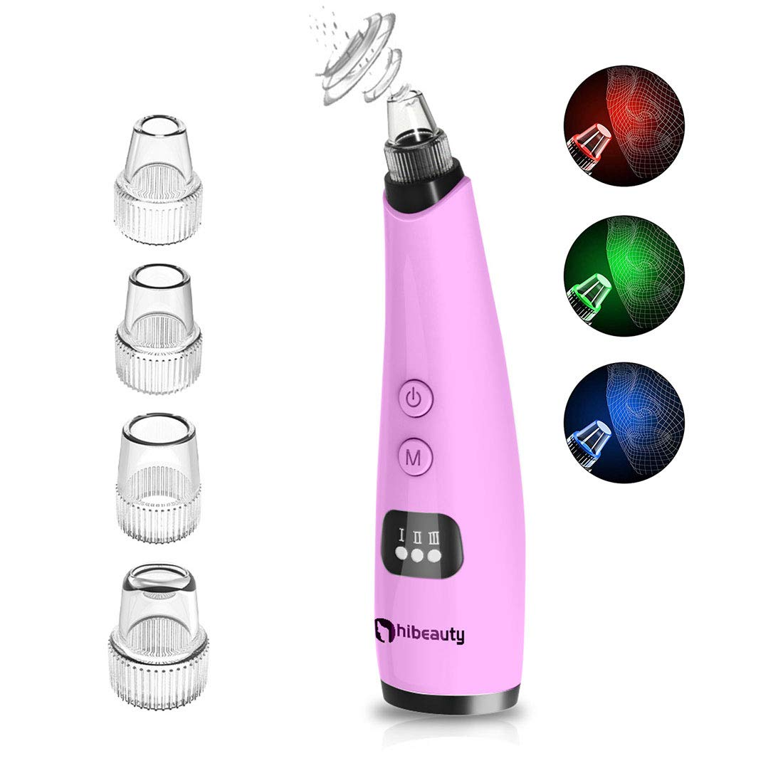Hibeauty Blackhead Remover, Pore Vacuum Cleaner Electric Remove Blackheads and Whiteheads Beauty Device with 4 Hole-Shaped Vacuum Cleaners 3 Adjustable Suction and Three Different Color Beauty Lights