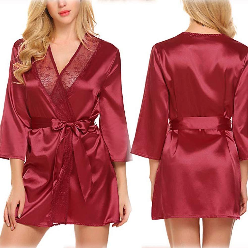 Amazon.com: CHENGXI Womens Lace Kimono Robe Sexy Lingerie G ...