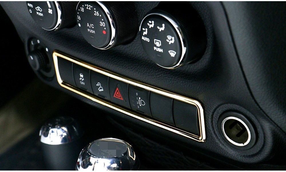 Niceautoitem 8Colors Car Interior Accessories Emergency Light Button Frame Cover Stickers ABS Fit Jeep Wrangler 2011-2017 Yellow