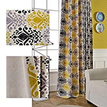 Yellow Black Valance Geometry Swags - Anady Top 2 Panel Decro Short Curtains Drapes 24 inch Long Grommet Top(Customized Available)