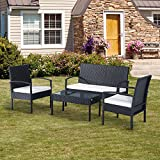 EBS Outdoor Rattan Garden Furniture Patio Conservatory Wicker Sets Sale Clearance Sofa Coffee Table Cushion Chairs Set - Cream Cushion