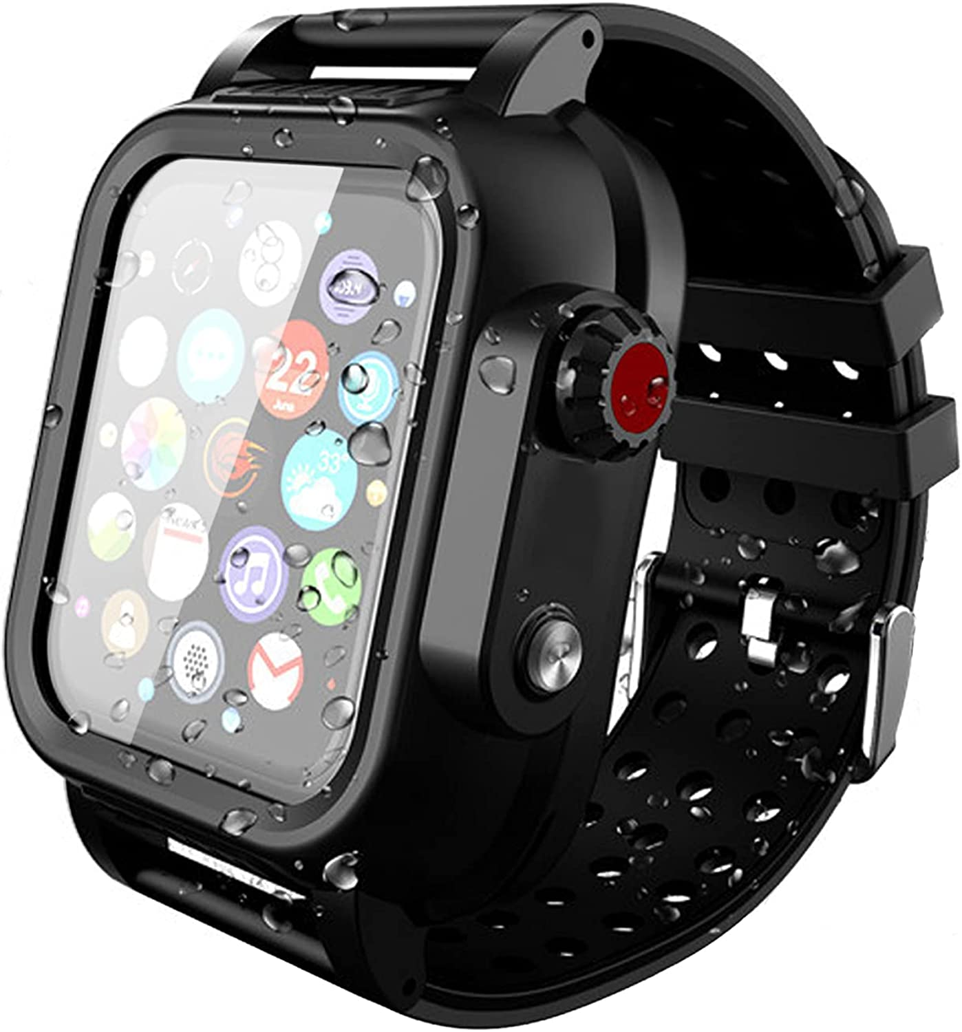 Compatible for Apple Watch Series 6 5 4 Band with Case, Built-in Screen Protector Waterproof Full Body Case Daily Waterproof for iWatch Strap set 44 42 40mm, Shockproof, Anti-Scratch and Dustproof Loop Band with Case