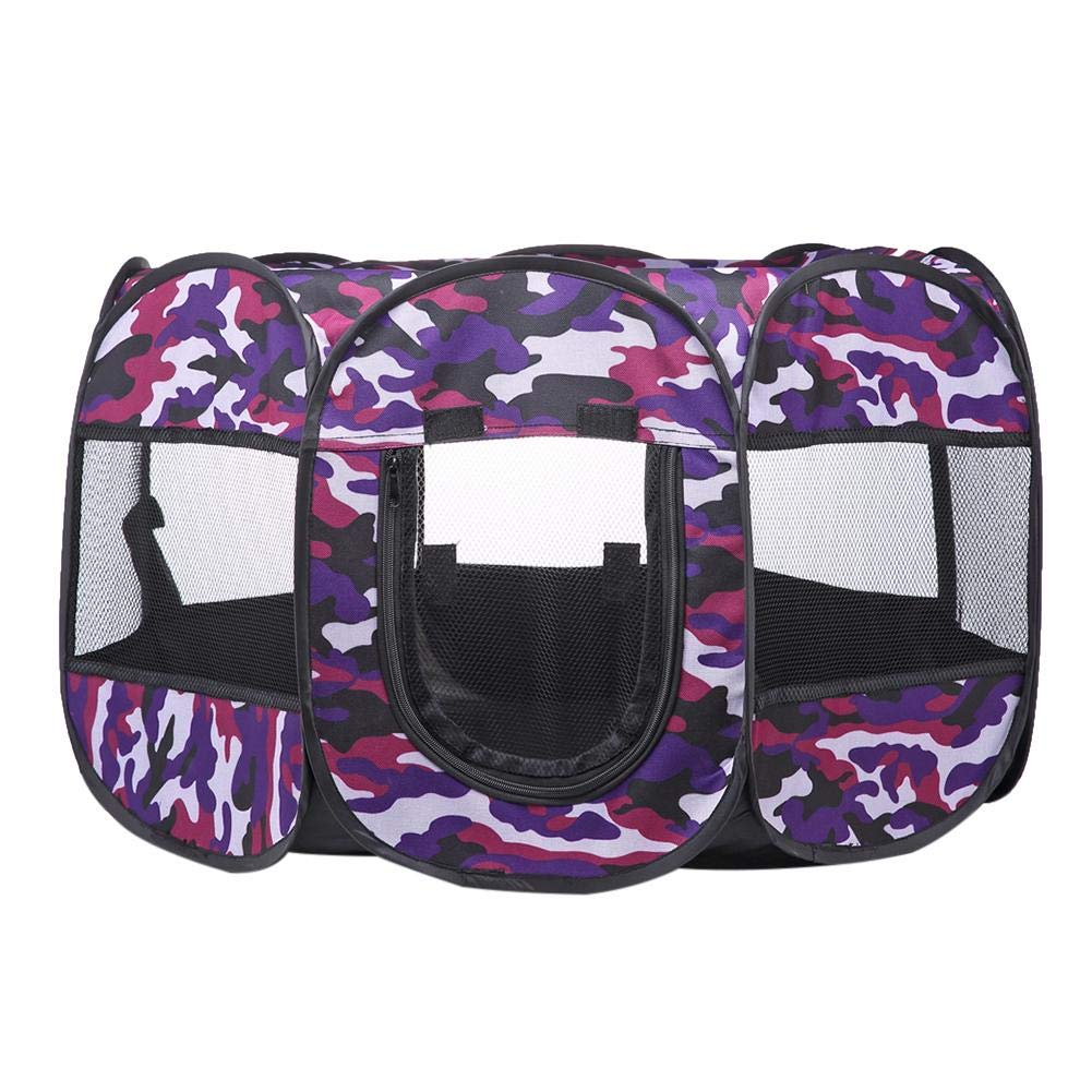 Purple Pets Playpen Nest Portable Folding Dog Tent House Cage (Purple)
