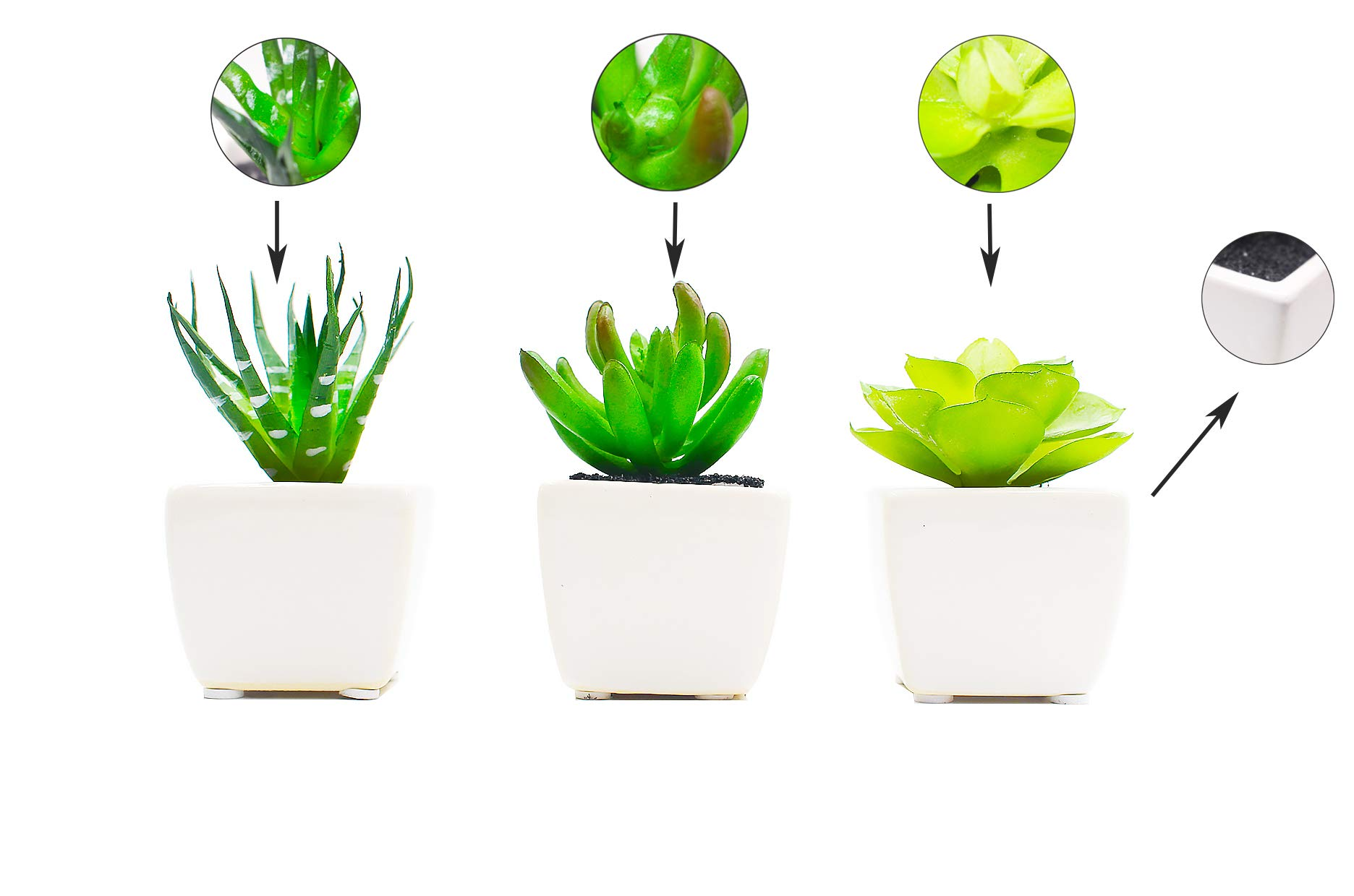 ZAZALUM Mini Artificial Potted Succulents, Set of 3 Faux Green Plants in Cube-Shape White Ceramic Pot for Home & Office Décor
