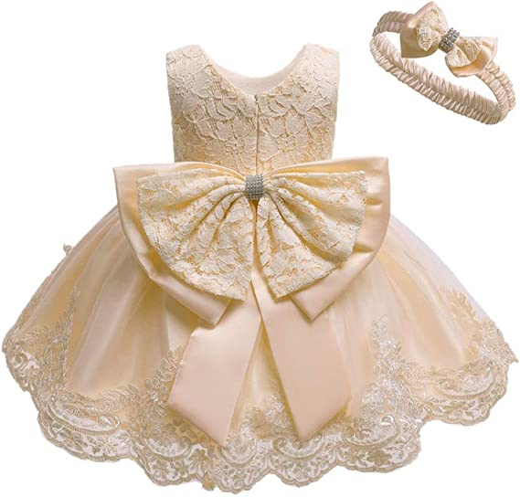 Baby Girl Christening Baptism Lace Dress Princess Bowknot Wedding Pageant Party Embroidery Formal Tutu Gown with Headband