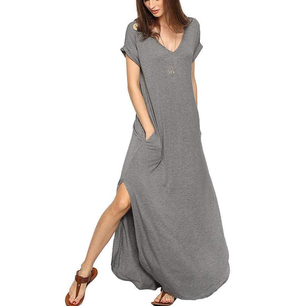 Casual T Shirt Dresses Womens V Neck Short Sleeve Side Split Hem Solid Loose Summer Beach Tunic Long Maxi Dress